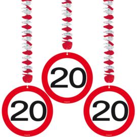 Hangdecoratie Verkeersbord 20 jaar