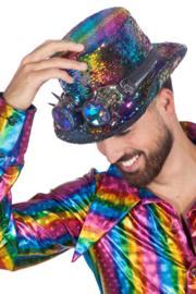 Hoge hoed Burning Man Rainbow (met bril)