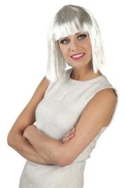 Pruik glamour wit met tinsel