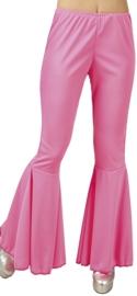 Disco broek wijde pijpen roze