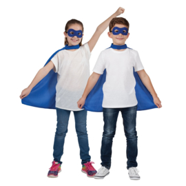 Helden cape en masker kids blauw