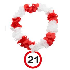Hawaiikrans 21 jaar verkeersbord