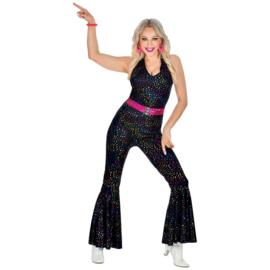 Disco 70's jumpsuit vrouw glitter