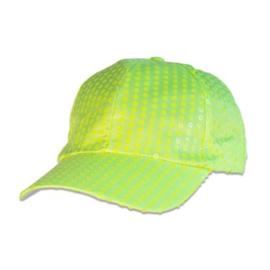 Baseball pet paillet  | neon geel