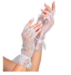 Witte vingerloze handschoenen kant