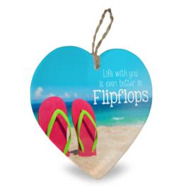Houten beach hart Life slippers