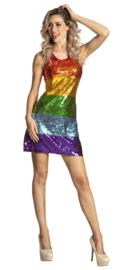 Regenboog jurkje pailletten