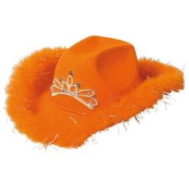 Oranje cowboy hoed deluxe