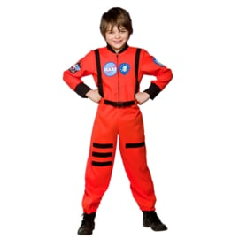 Astronauten kostuum oranje
