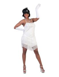Flapper jurkje fringie wit
