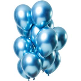 Ballonnen spiegel effect blauw 10 stuks