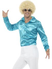 70's disco blouse lichtblauw