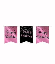 Party vlaggenlijn rose/zwart - Happy birthday