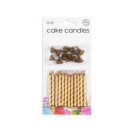12 Cake kaarsjes + 12 holders goud