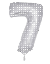 Folieballon 7 zilver dots incl.