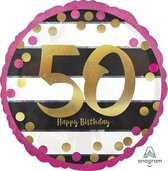 Folieballon pink & gold '50' (43cm)