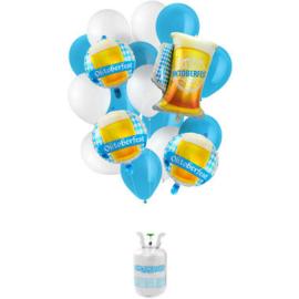 Helium tank Balloongaz 30 'Oktoberfest' met Ballonnen en Lint