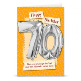 Leeftijd ballonnen kaart 70 jaar