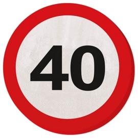 Verkeersbord servetten 40 jaar
