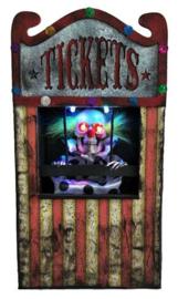 Geanimeerde clown ticket verkoper