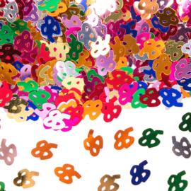 Tafeldecoratie / sier confetti 85 jaar