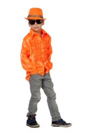 Disco shirt kinderen neon oranje OP=OP