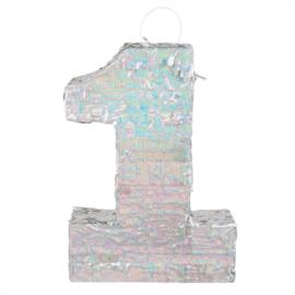 Piñata cijfer '1' holografisch zilver