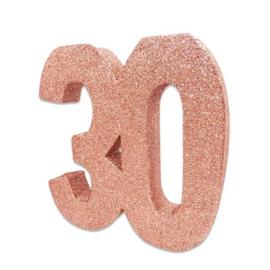 Tafeldecoratie 30 glitter rosegoud