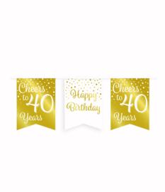 Party vlaggenlijn goud/wit - 40