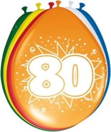 Ballonnen 80 jaar (assorti kleuren)