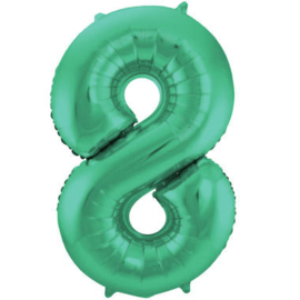 Folieballon 8 mat groen