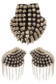 Epaulettenkapje met spikes zilver