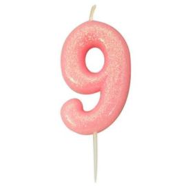 Nummerkaars glitter roze '9'