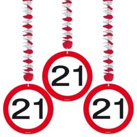 Hangdecoratie Verkeersbord 21 jaar