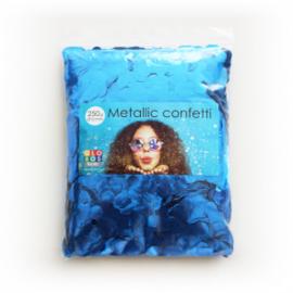 Confetti metallic rond 10mm 250 gram blauw