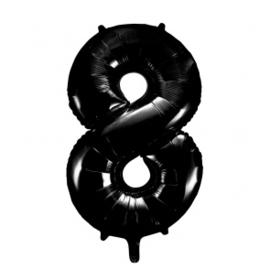 Folieballon cijfer zwart 86cm | 8 |