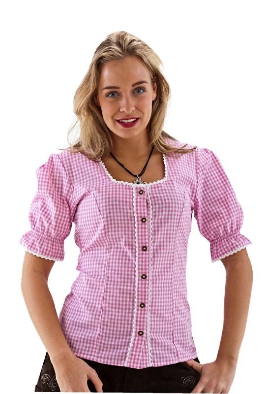 Trachten blouse roze en wit OP=OP