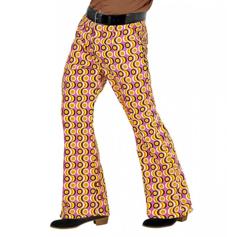 Groovy 70's heren broek pinkprint | Feestkleding heren