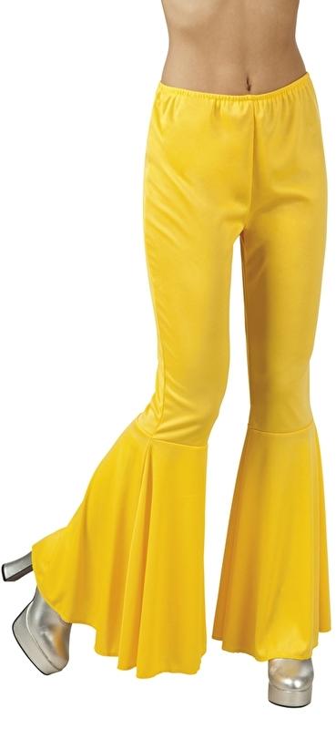 Disco broek wijde pijpen geel