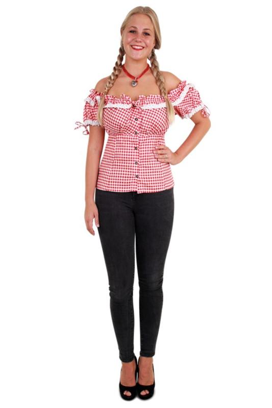 Tiroler blouse dames rood wit