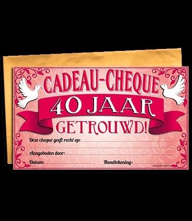 Cadeau Cheque 40 Jaar Getrouwd Cadeau Cheques Goedkope