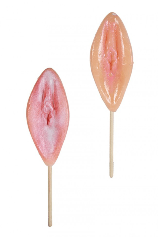 Zoete lolly, vagina, met aardbeiensmaak
