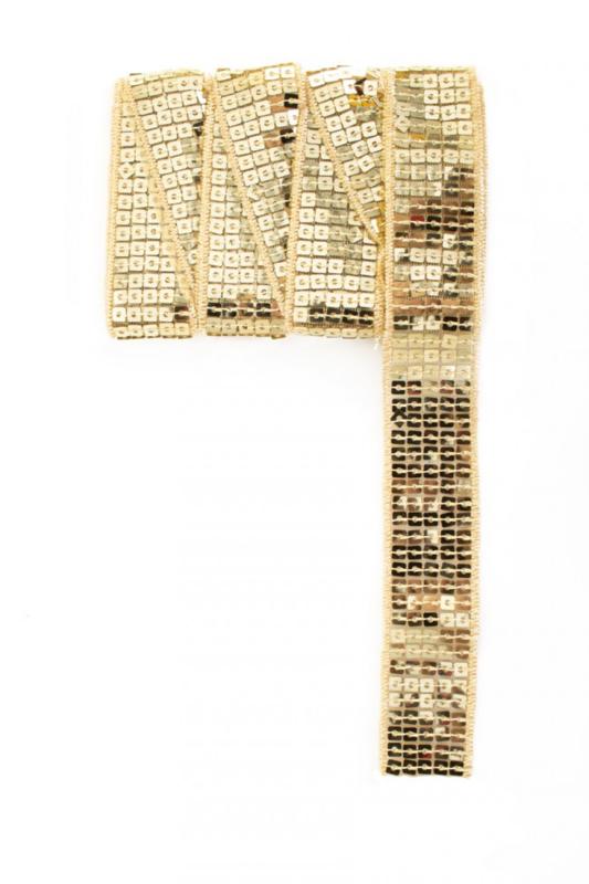 Paillettenband recht goud 3m