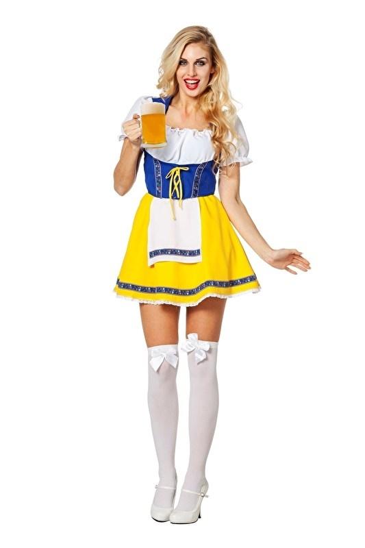 Tiroler biermeisje blauw / geel