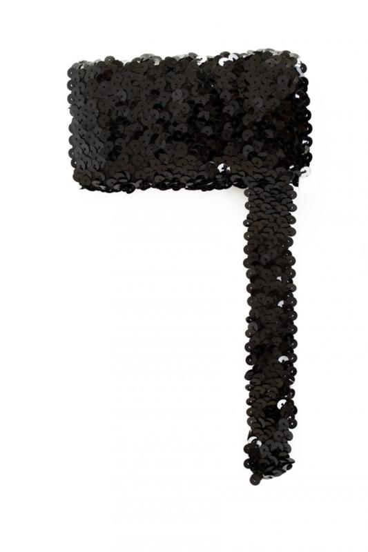 Paillettenband breed elastisch zwart 3m
