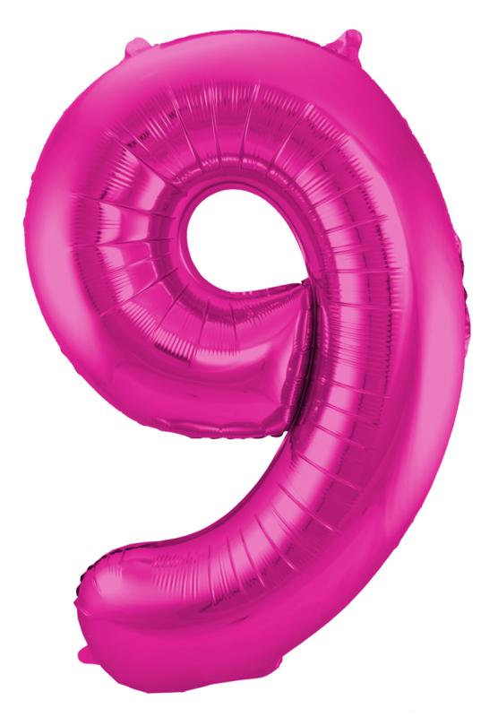 Folieballon 9 magenta incl.
