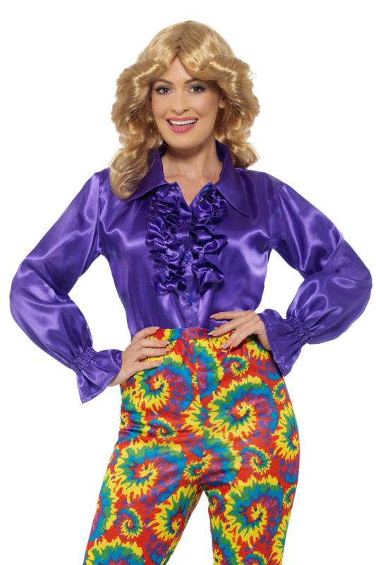 Disco blouse paars blauw