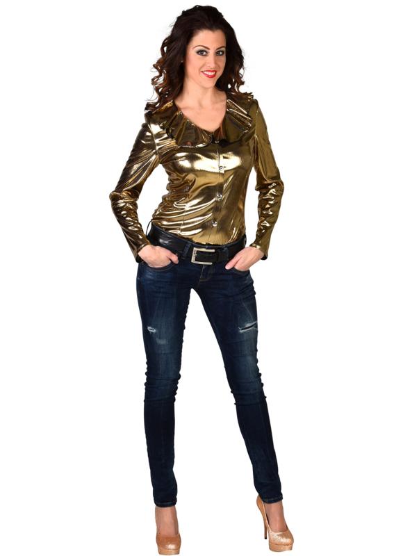 Beste Dames blouse goud | Feestkleding dames | Goedkope Feestkleding OB-36