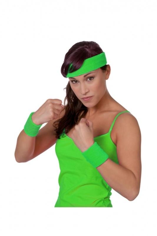 Zweetbandjes neon groen