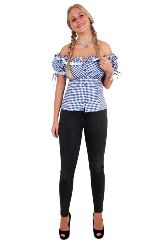 Tiroler blouse dames blauw wit